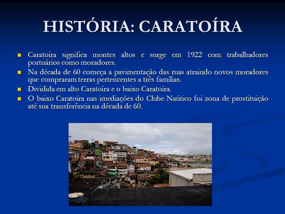 HISTÓRIA: CARATOÍRA Caratoíra significa montes altos e surge em 1922 com trabalhadores portuários como moradores.