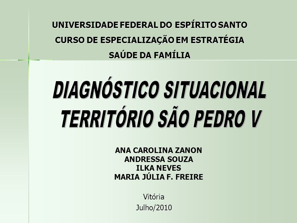 DIAGNÓSTICO SITUACIONAL TERRITÓRIO SÃO PEDRO V