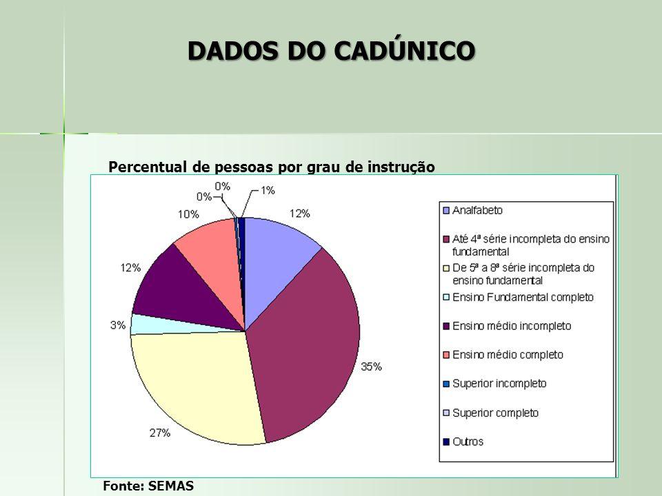 DADOS DO CADÚNICO Percentual de pessoas por grau de instrução