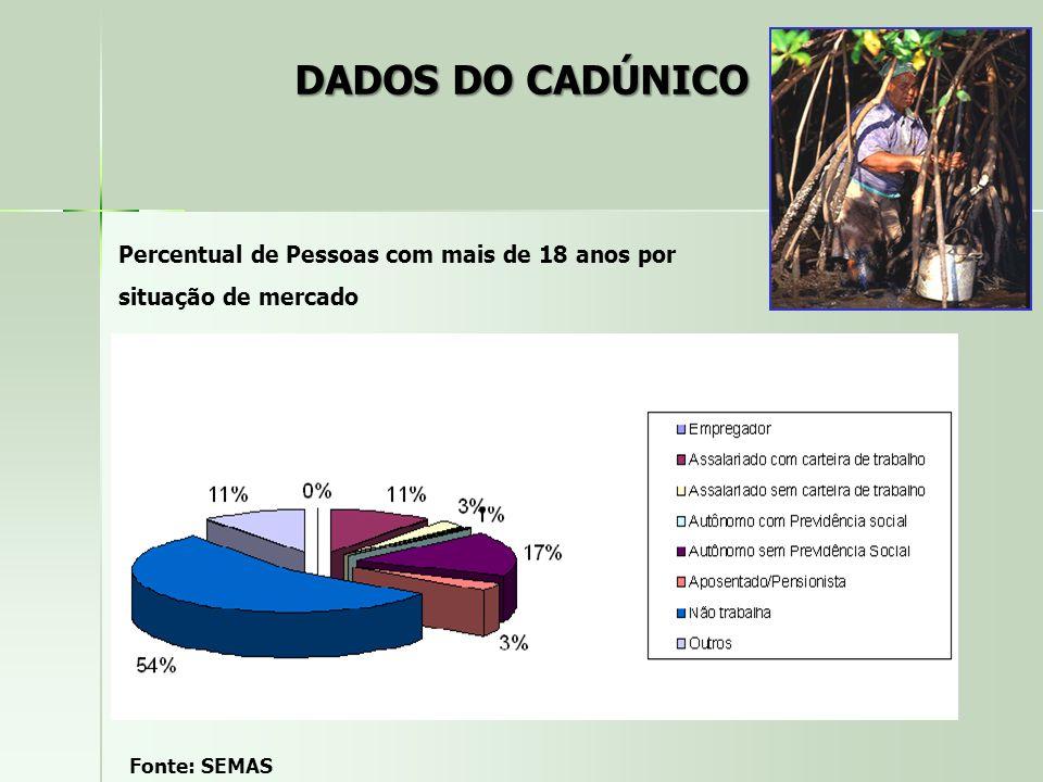 DADOS DO CADÚNICO Percentual de Pessoas com mais de 18 anos por