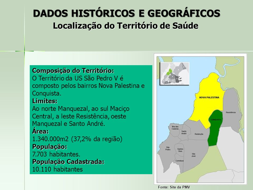 DADOS HISTÓRICOS E GEOGRÁFICOS Localização do Território de Saúde