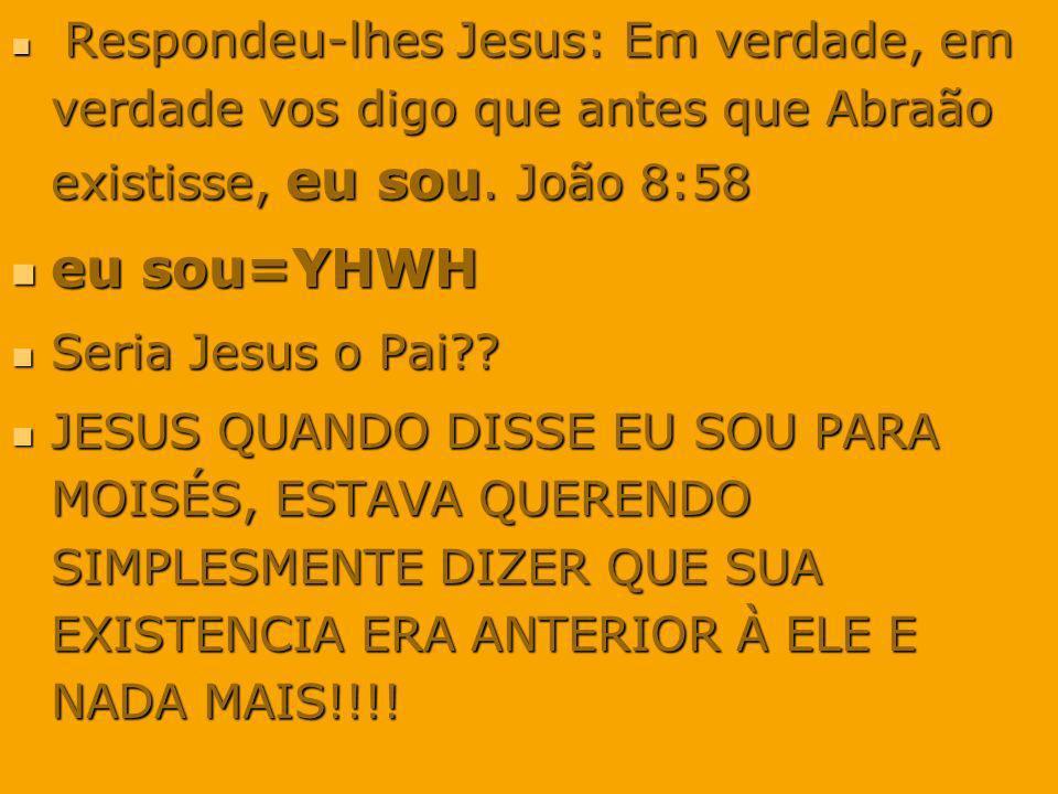 eu sou=YHWH Seria Jesus o Pai