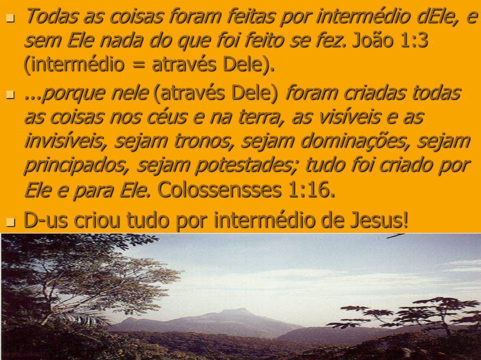 D-us criou tudo por intermédio de Jesus!