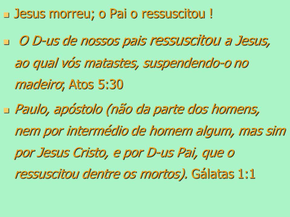 Jesus morreu; o Pai o ressuscitou !