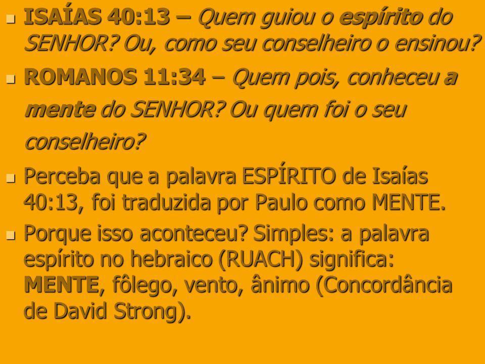 ISAÍAS 40:13 – Quem guiou o espírito do SENHOR