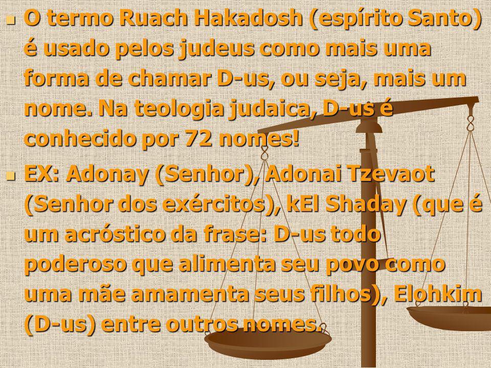 O termo Ruach Hakadosh (espírito Santo) é usado pelos judeus como mais uma forma de chamar D-us, ou seja, mais um nome. Na teologia judaica, D-us é conhecido por 72 nomes!