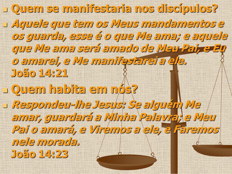 Quem habita em nós Quem se manifestaria nos discípulos