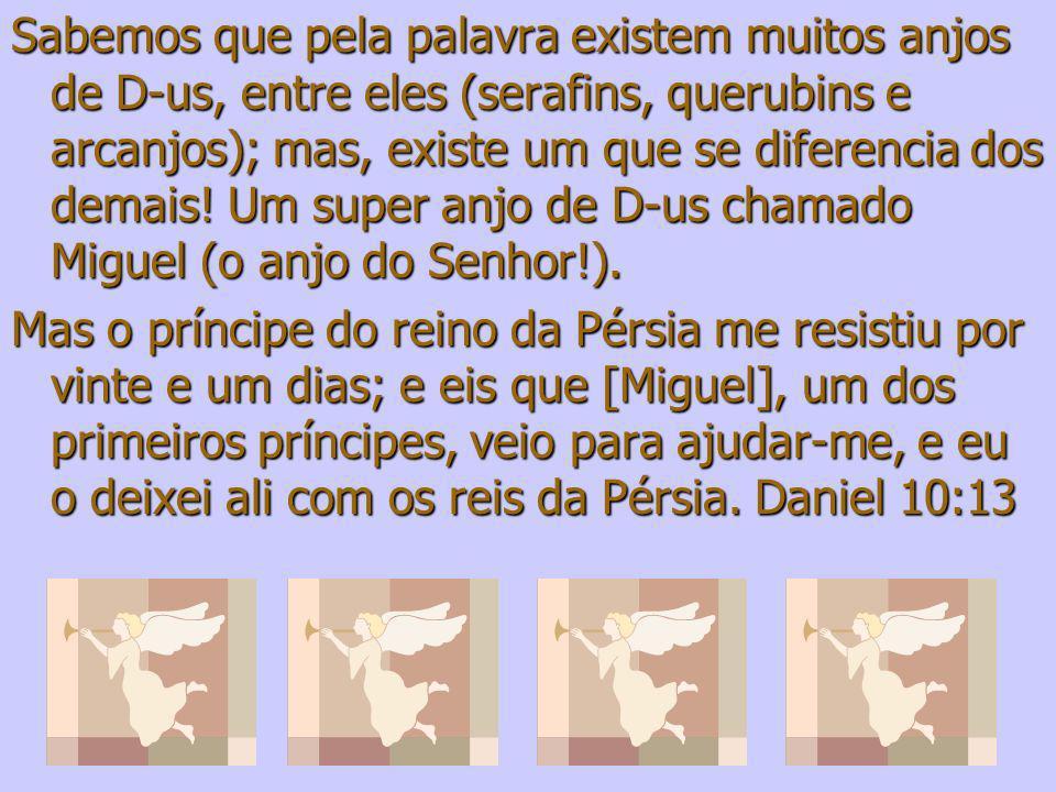 Sabemos que pela palavra existem muitos anjos de D-us, entre eles (serafins, querubins e arcanjos); mas, existe um que se diferencia dos demais! Um super anjo de D-us chamado Miguel (o anjo do Senhor!).