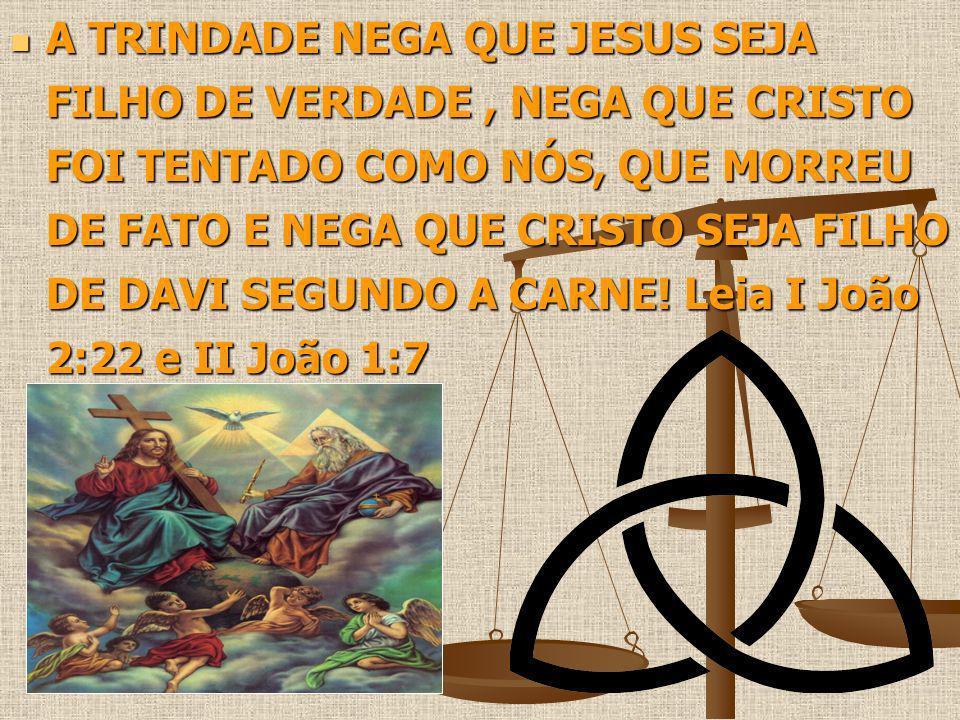 A TRINDADE NEGA QUE JESUS SEJA FILHO DE VERDADE , NEGA QUE CRISTO FOI TENTADO COMO NÓS, QUE MORREU DE FATO E NEGA QUE CRISTO SEJA FILHO DE DAVI SEGUNDO A CARNE.