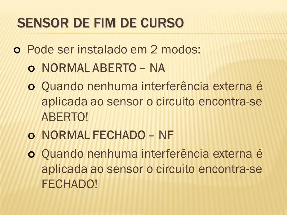 Sensor de fim de curso Pode ser instalado em 2 modos: