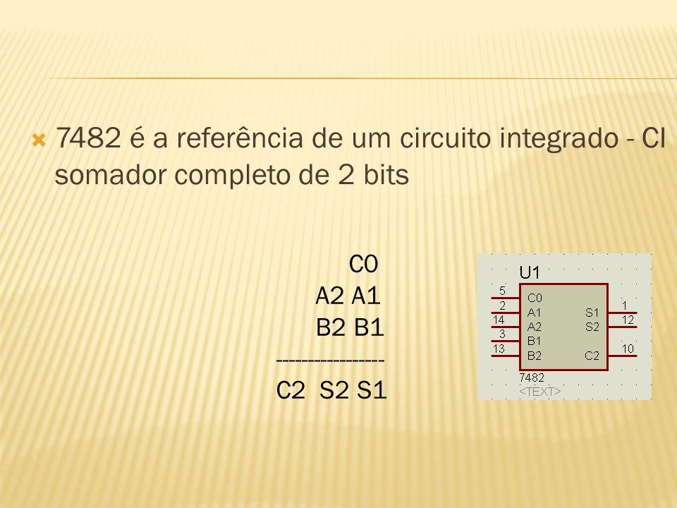 7482 é a referência de um circuito integrado - CI somador completo de 2 bits
