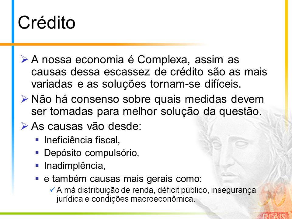 Crédito A nossa economia é Complexa, assim as causas dessa escassez de crédito são as mais variadas e as soluções tornam-se difíceis.