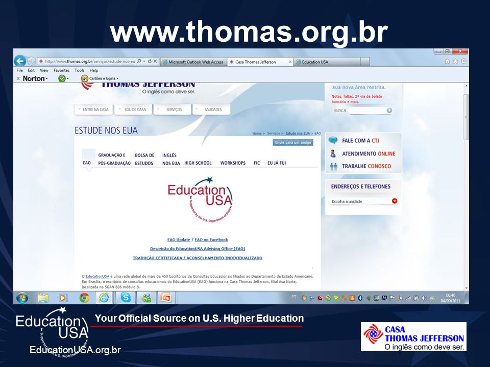 www.thomas.org.br EducationUSA.org.br