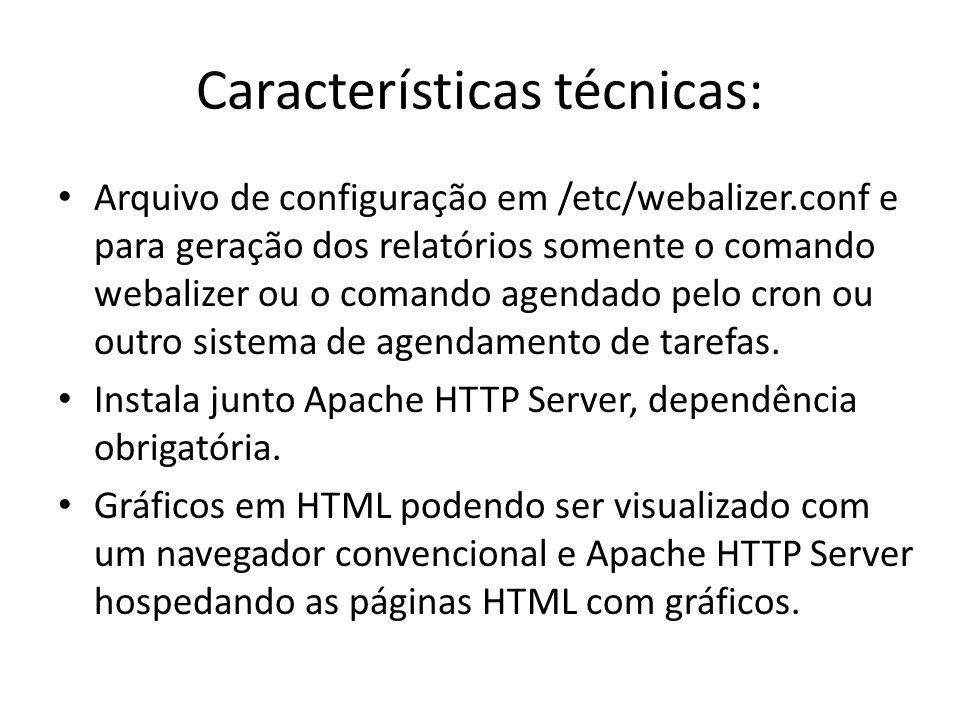 Características técnicas: