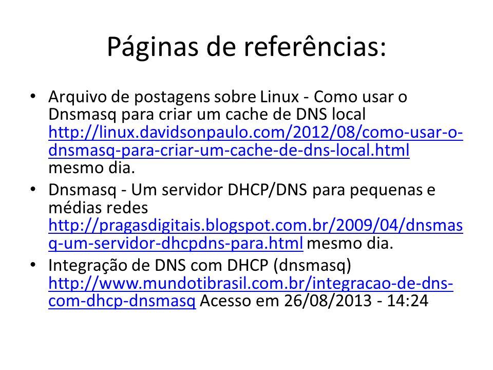 Páginas de referências: