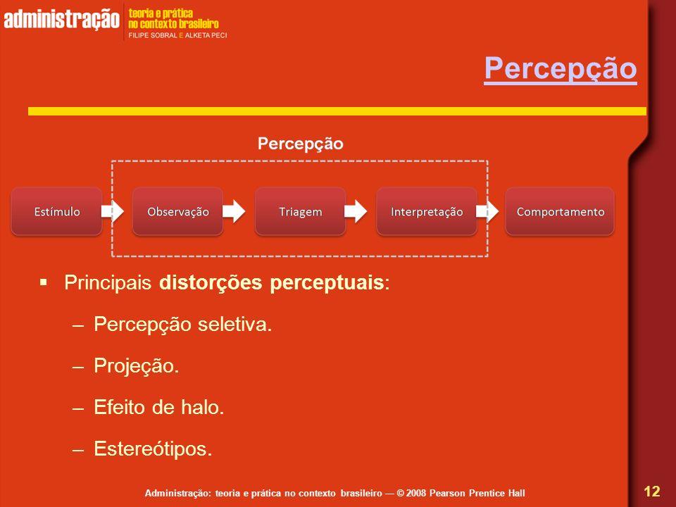 Percepção Principais distorções perceptuais: Percepção seletiva.