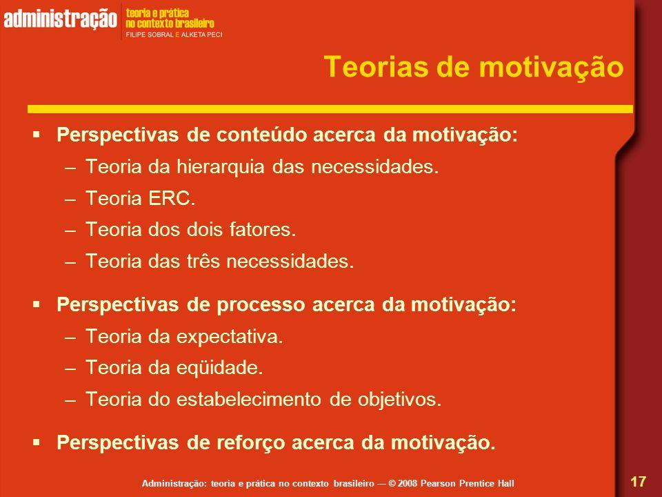 Teorias de motivação Perspectivas de conteúdo acerca da motivação: