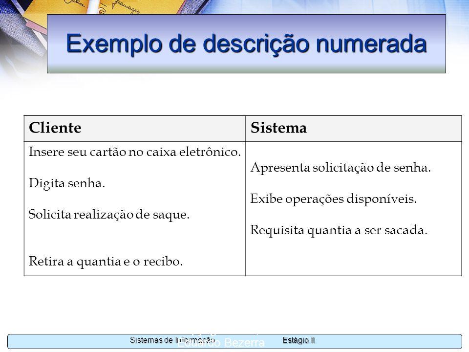 Exemplo de descrição numerada