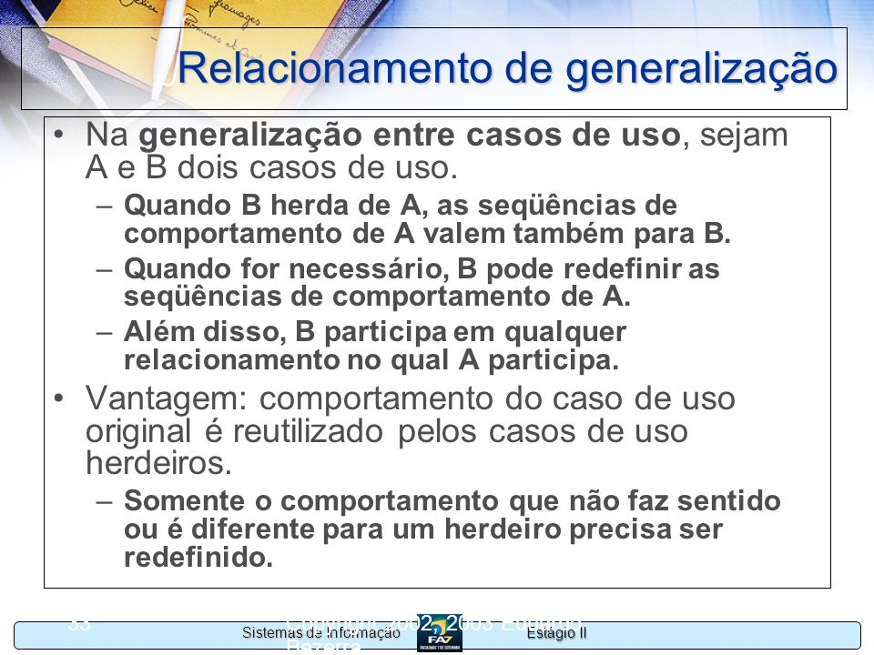 Relacionamento de generalização