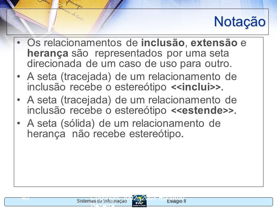 NotaçãoOs relacionamentos de inclusão, extensão e herança são representados por uma seta direcionada de um caso de uso para outro.