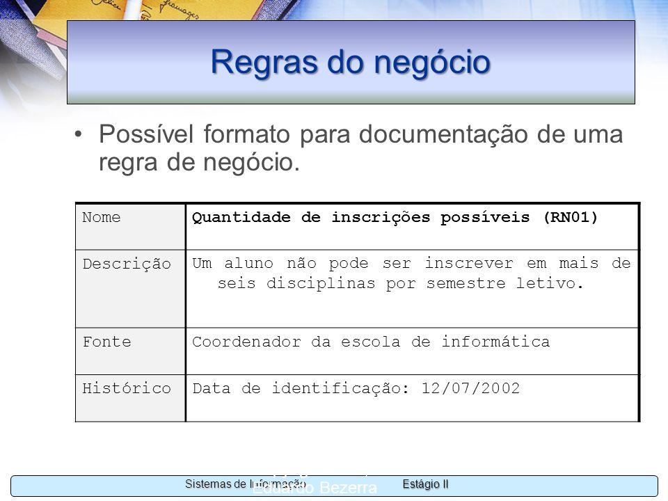 Regras do negócioPossível formato para documentação de uma regra de negócio. Nome. Quantidade de inscrições possíveis (RN01)