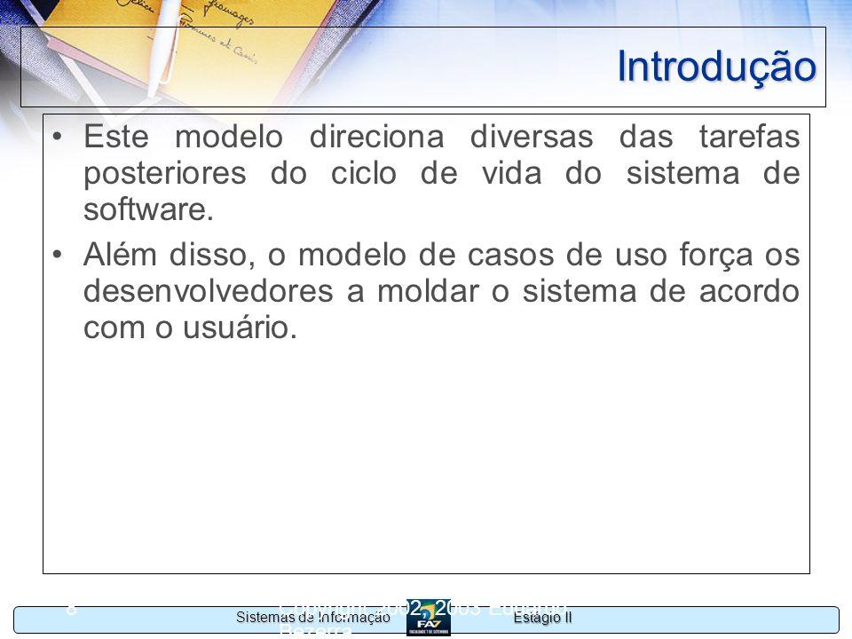 IntroduçãoEste modelo direciona diversas das tarefas posteriores do ciclo de vida do sistema de software.
