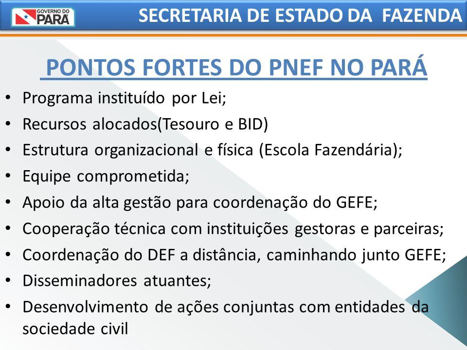 PONTOS FORTES DO PNEF NO PARÁ