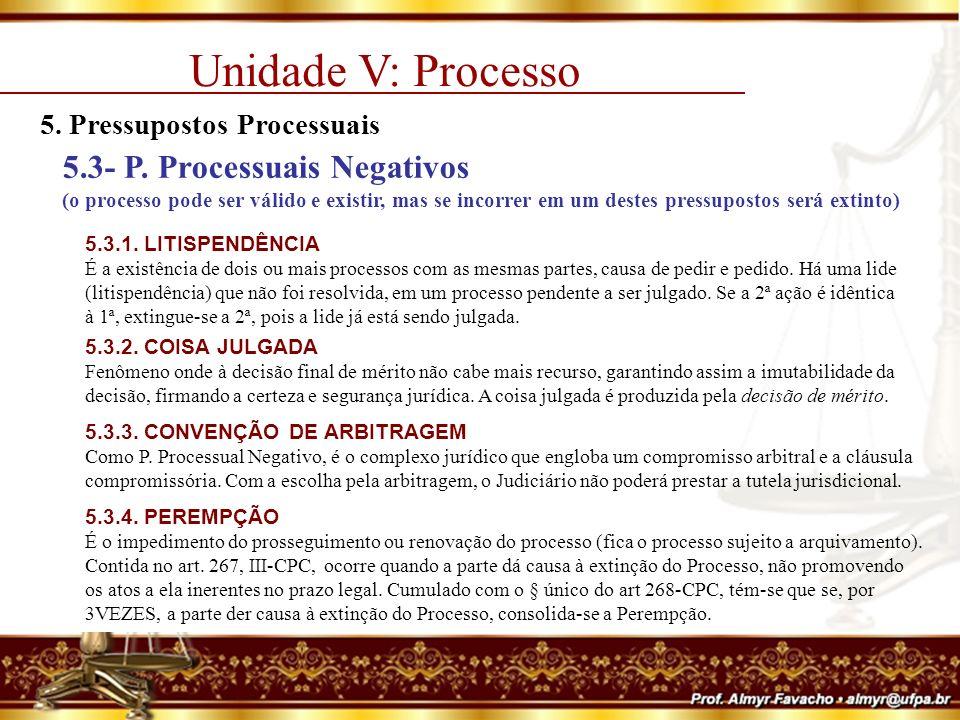 Unidade V: Processo 5. Pressupostos Processuais.