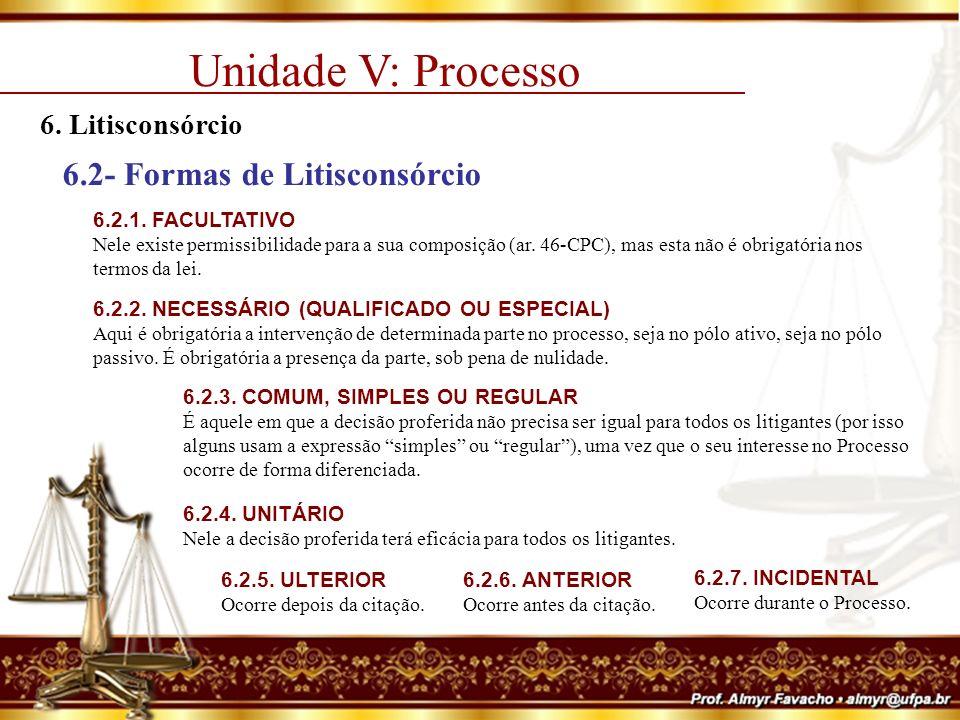 Unidade V: Processo 6.2- Formas de Litisconsórcio 6. Litisconsórcio