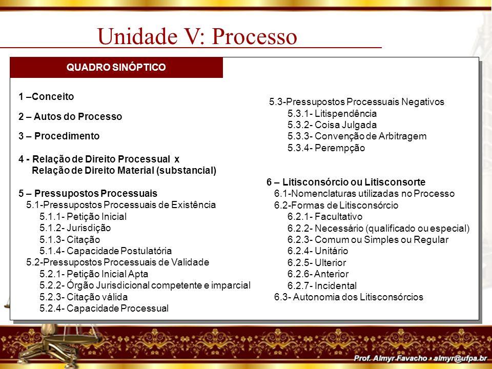 Unidade V: Processo QUADRO SINÓPTICO