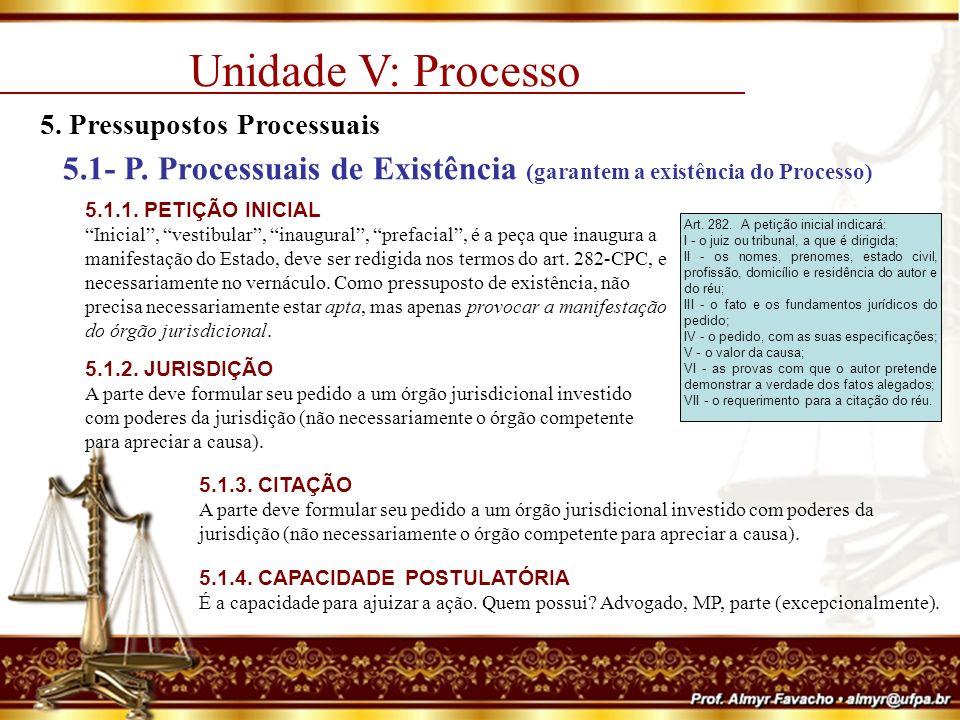 Unidade V: Processo 5. Pressupostos Processuais. 5.1- P. Processuais de Existência (garantem a existência do Processo)