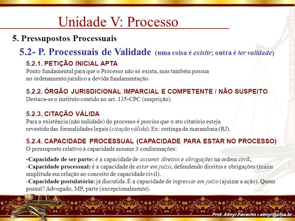 Unidade V: Processo 5. Pressupostos Processuais. 5.2- P. Processuais de Validade (uma coisa é existir; outra é ter validade)