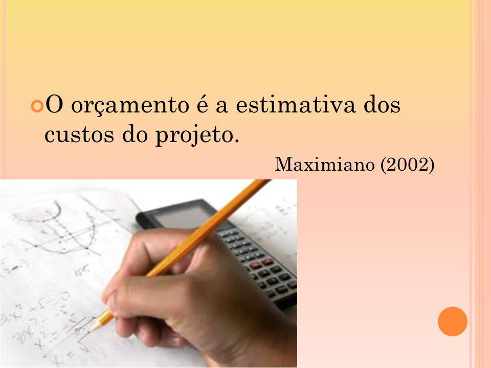 O orçamento é a estimativa dos custos do projeto.