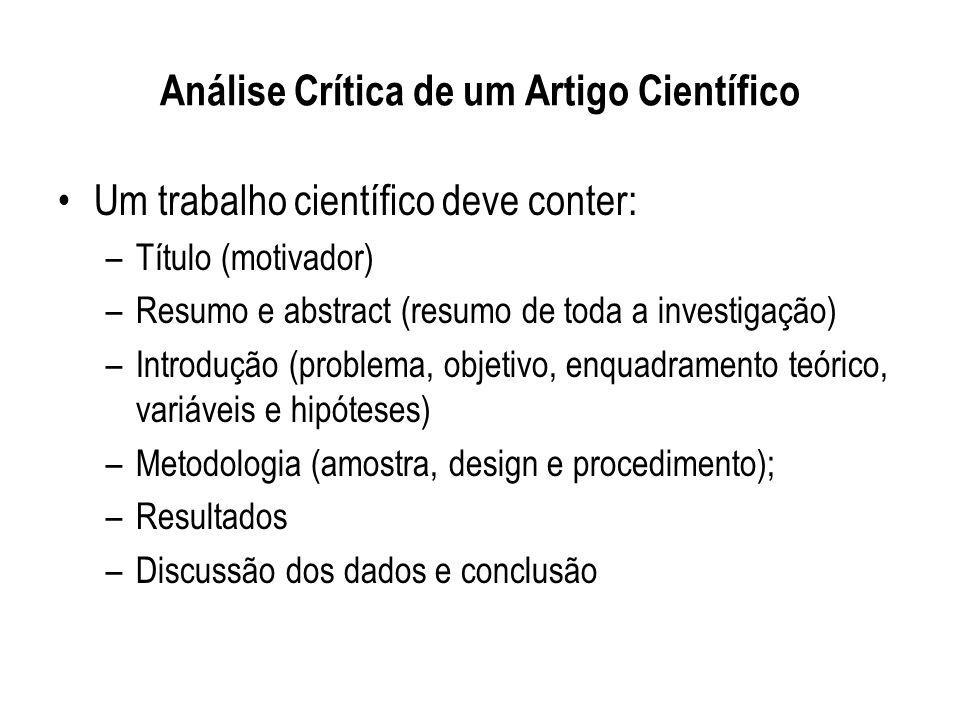 Análise Crítica de um Artigo Científico