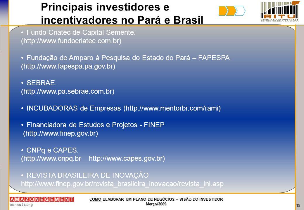 Principais investidores e incentivadores no Pará e Brasil