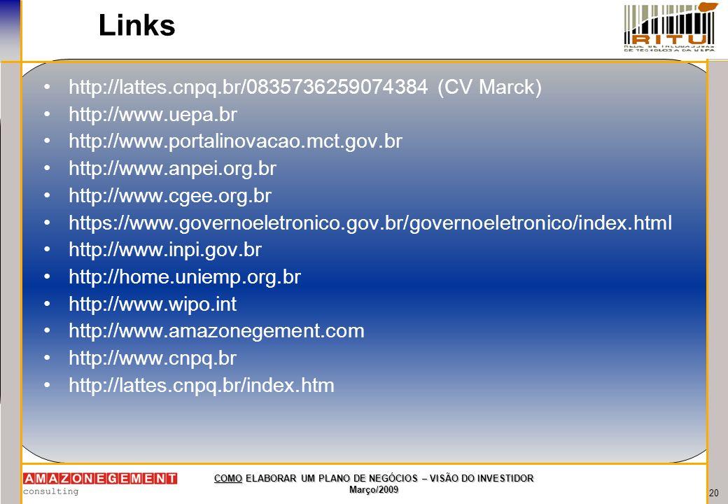 Links http://lattes.cnpq.br/0835736259074384 (CV Marck)