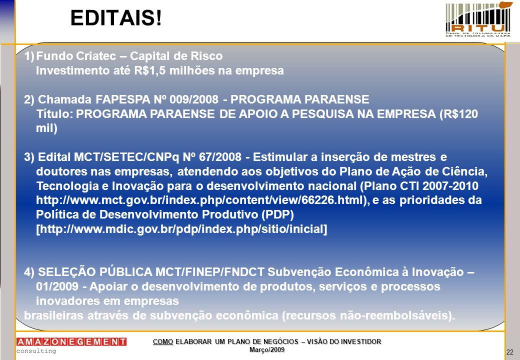 EDITAIS! Fundo Criatec – Capital de Risco
