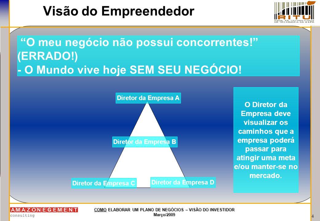 Visão do Empreendedor O meu negócio não possui concorrentes! (ERRADO!) - O Mundo vive hoje SEM SEU NEGÓCIO!