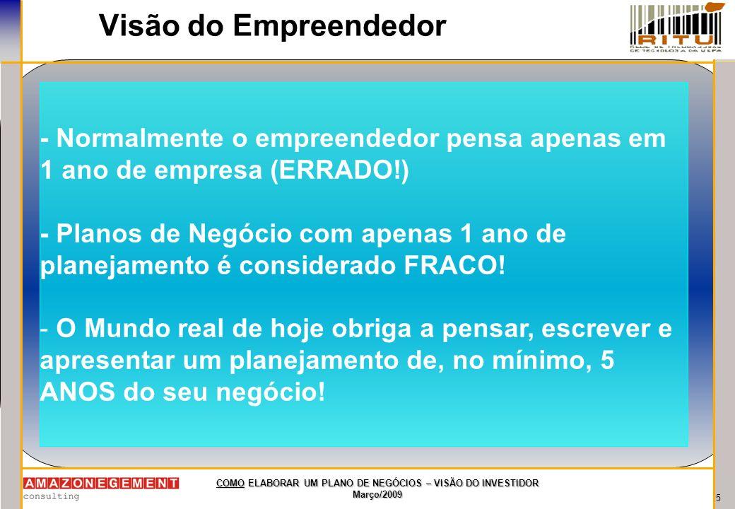 Visão do Empreendedor- Normalmente o empreendedor pensa apenas em 1 ano de empresa (ERRADO!)