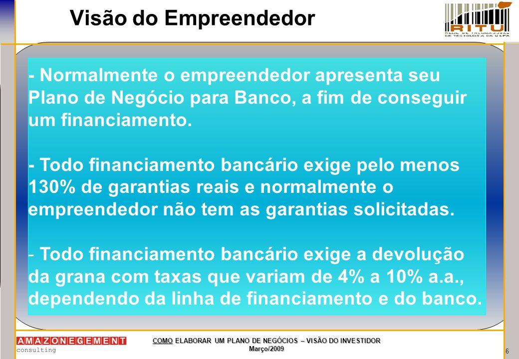 Visão do Empreendedor - Normalmente o empreendedor apresenta seu Plano de Negócio para Banco, a fim de conseguir um financiamento.