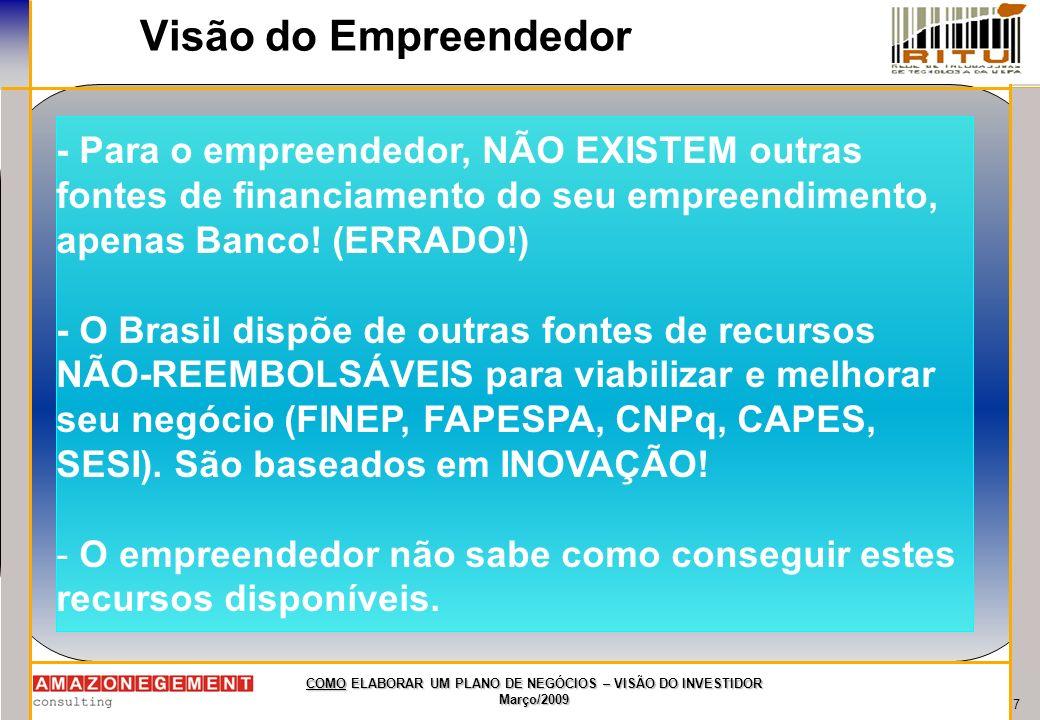 Visão do Empreendedor - Para o empreendedor, NÃO EXISTEM outras fontes de financiamento do seu empreendimento, apenas Banco! (ERRADO!)