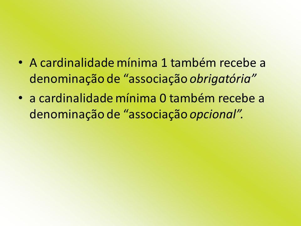 A cardinalidade mínima 1 também recebe a denominação de associação obrigatória