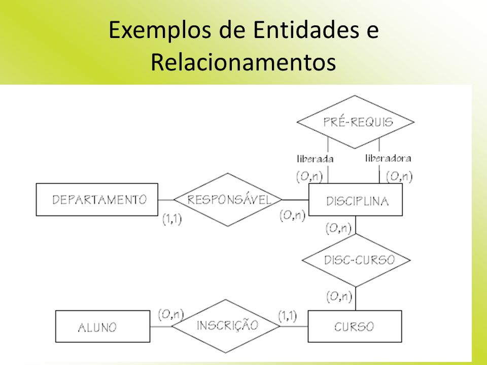 Exemplos de Entidades e Relacionamentos