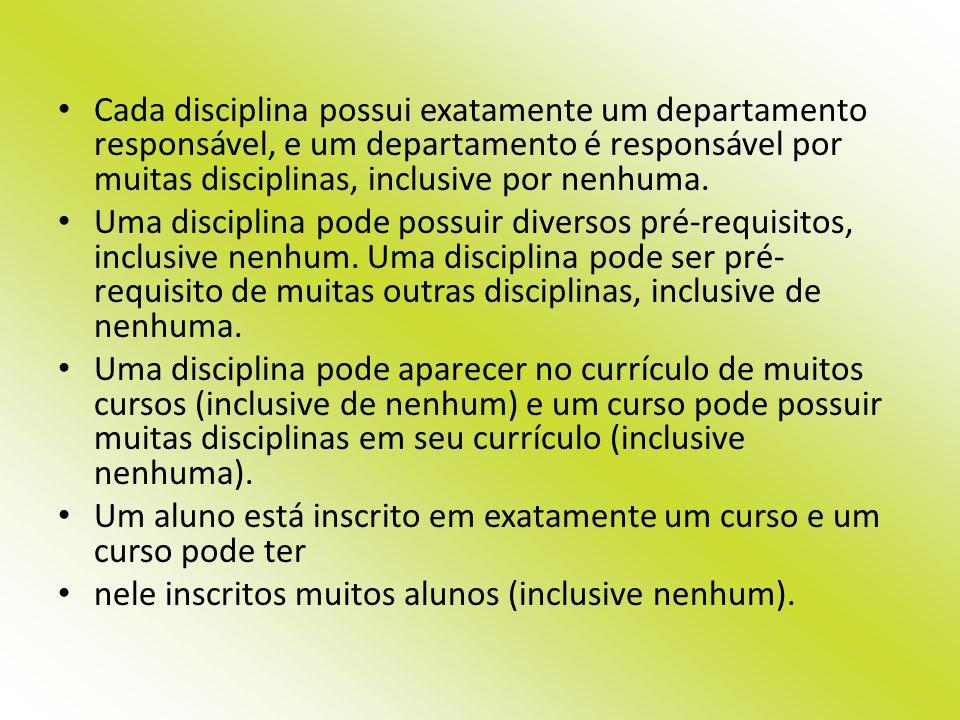 Cada disciplina possui exatamente um departamento responsável, e um departamento é responsável por muitas disciplinas, inclusive por nenhuma.