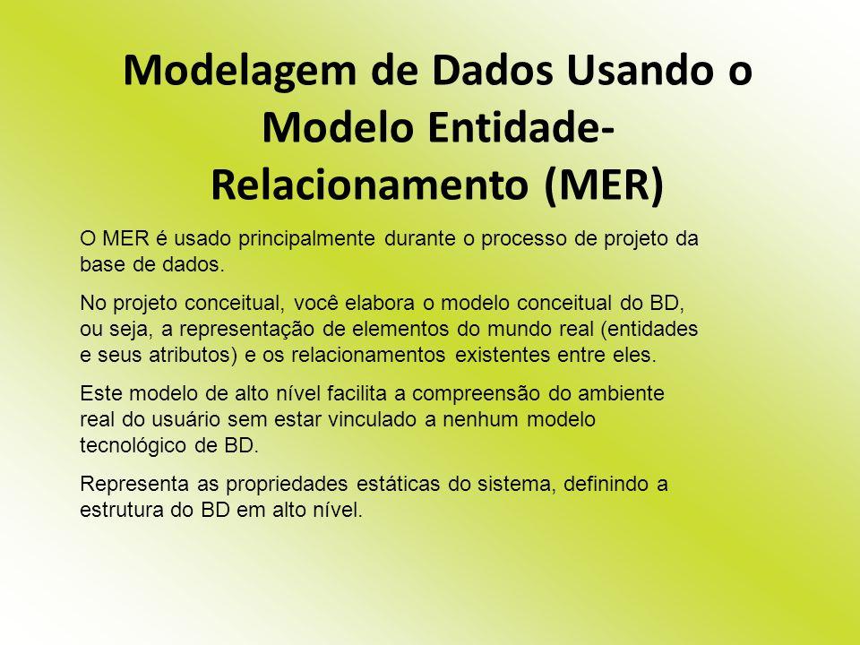 Modelagem de Dados Usando o Modelo Entidade- Relacionamento (MER)