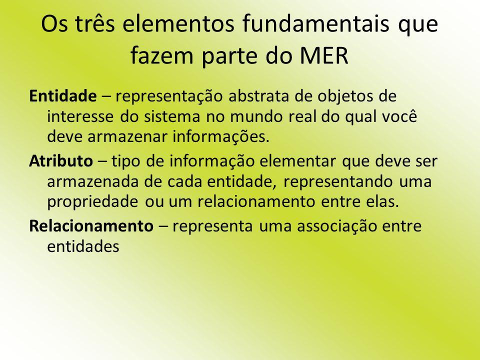 Os três elementos fundamentais que fazem parte do MER