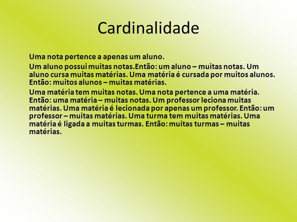 Cardinalidade Uma nota pertence a apenas um aluno.