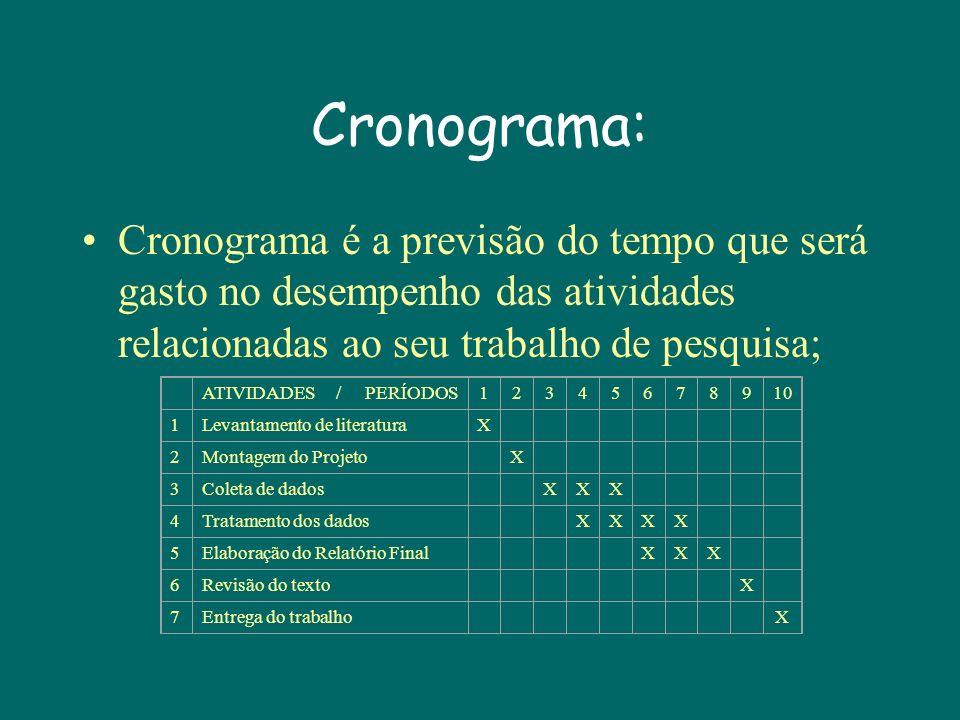 Cronograma: Cronograma é a previsão do tempo que será gasto no desempenho das atividades relacionadas ao seu trabalho de pesquisa;