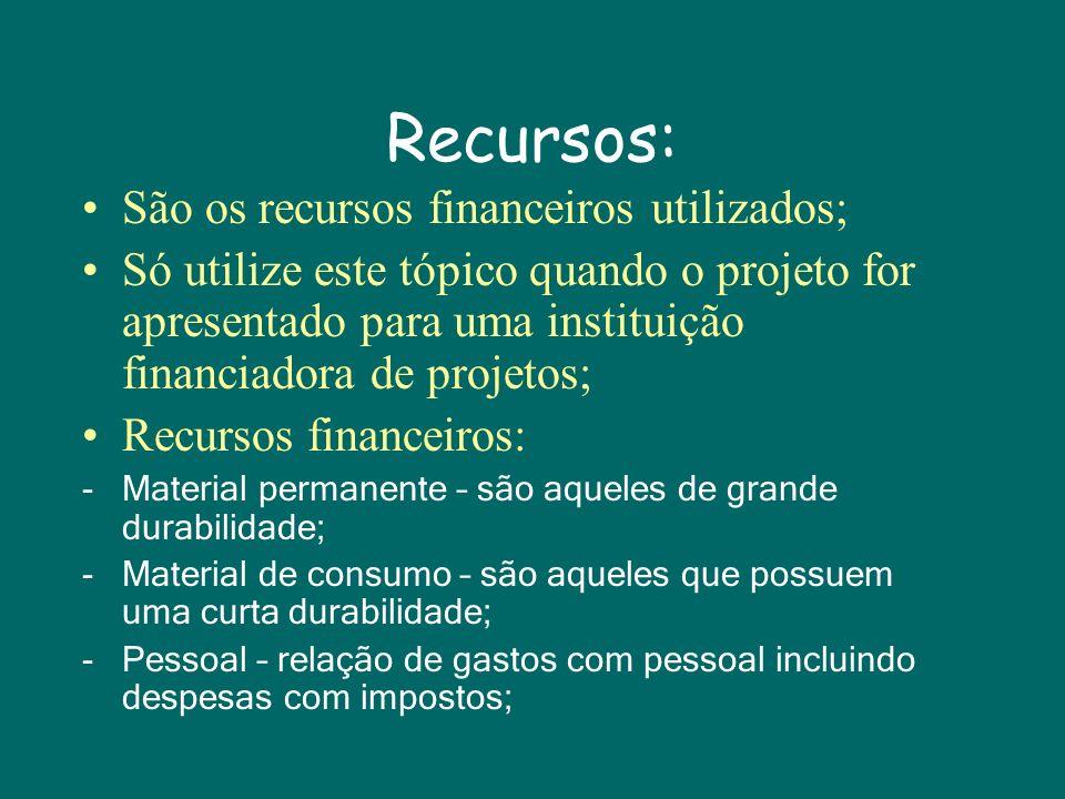 Recursos: São os recursos financeiros utilizados;