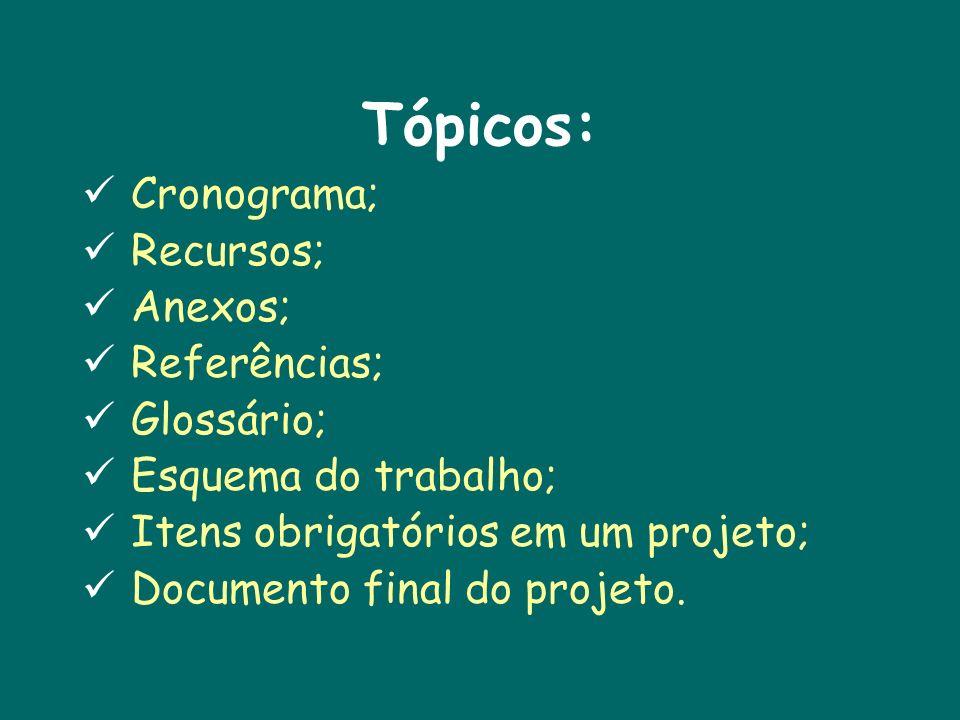 Tópicos: Cronograma; Recursos; Anexos; Referências; Glossário;